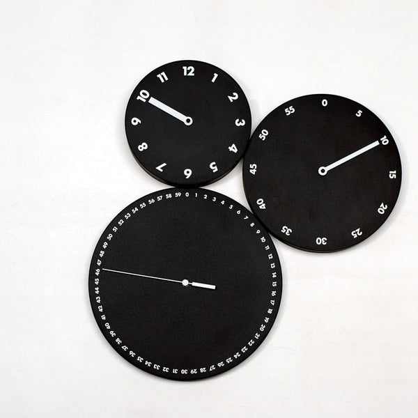 progetti h:m:s: wall clock, 3 black disks with white numbers | ikonitaly