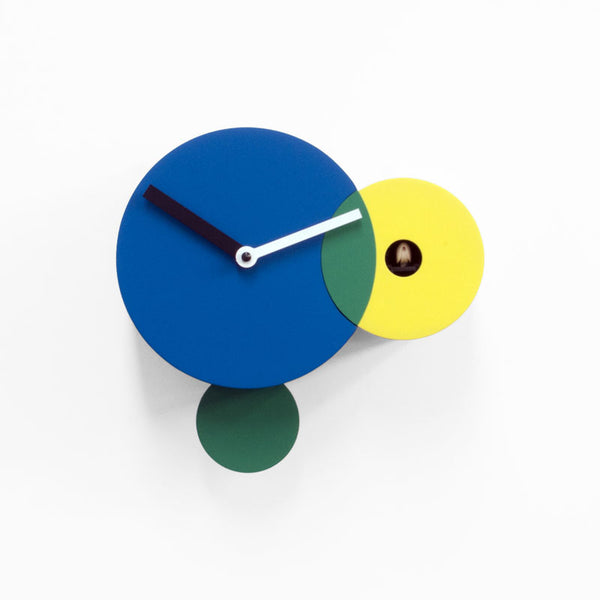 progetti kandinsky wall cuckoo clock, yellow , blue and green | ikonitaly