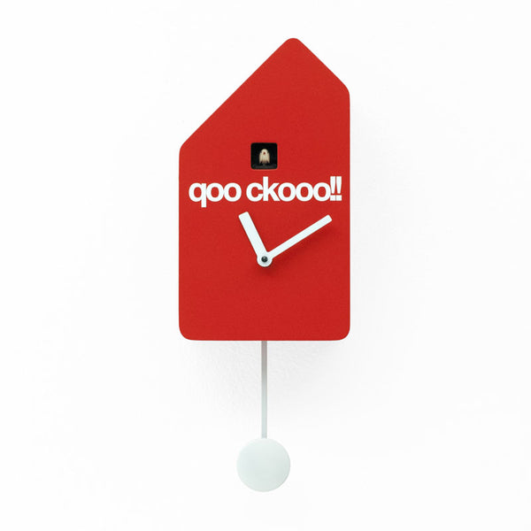 progetti q01 wall cuckoo clock, red, wood | ikonitaly