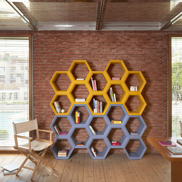 slide hexa flexible modular bookcase | ikonitaly