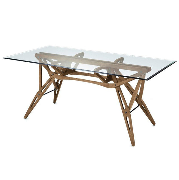 zanotta reale table natural oak with glass top | shop online ikonitaly