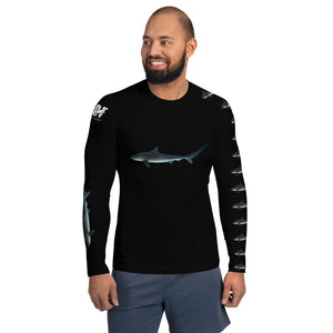 "Maldives Benefit Photo of ""Pirate"" the  Tiger Shark on Men's Rash Guard with Maldives Pelagic Divers Fuvahmulah (Tiger shark island) benefit"