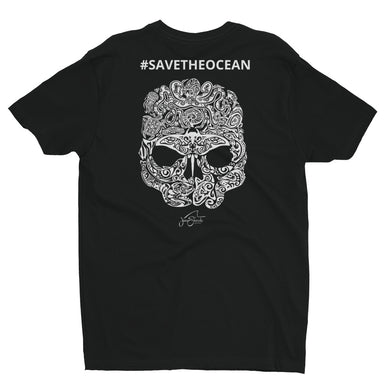 SAVE THE OCEAN #SAVETHEOCEAN Marine life skull shirt-@JuanSharks Design Short Sleeve T-shirt