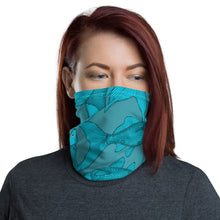 Lucky Fish Face Cover/ **Matches One Ocean bikini print Blue koi.  Neck Gaiter