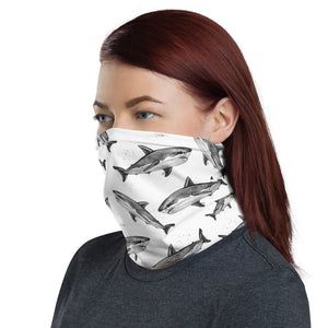 Great White Natures Art Face Cover / Neck Gaiter **Print Matches One Ocean Bikini Great White Design