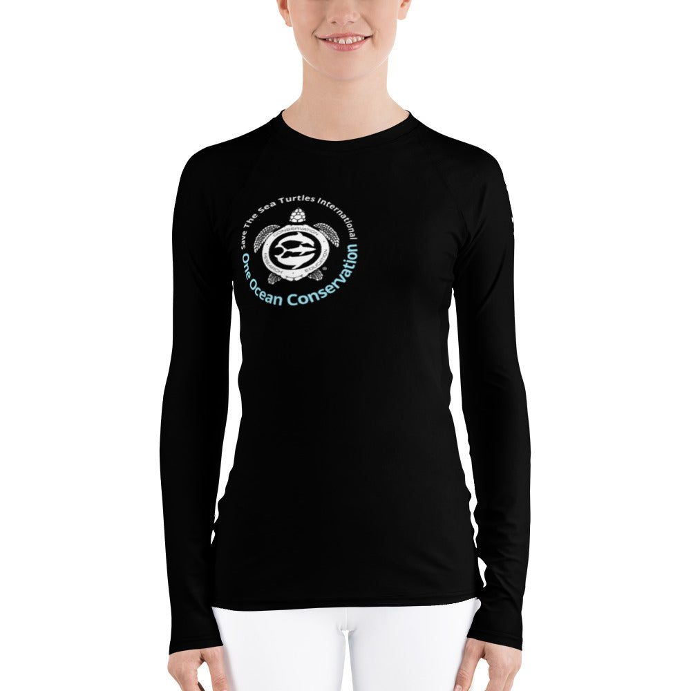 Benefit design for the conservation team, Join us! UV Women's Rash Guard Save The Sea Turtles International and One Ocean Conservation