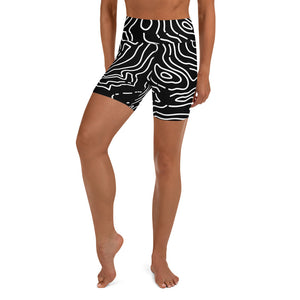 Mapping Ocean Contour Yoga Shorts