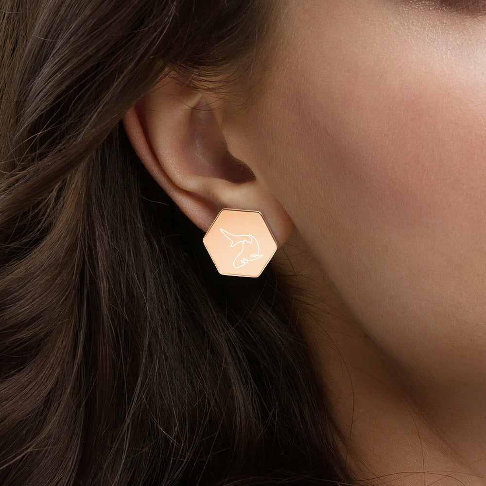 Rose gold or gold coated sterling silver shark design Hexagon Stud Earrings