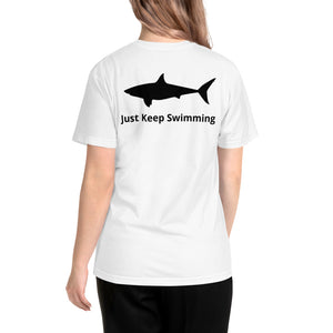 "Unisex ""Just Keep Swimming"" Shark T-Shirt"