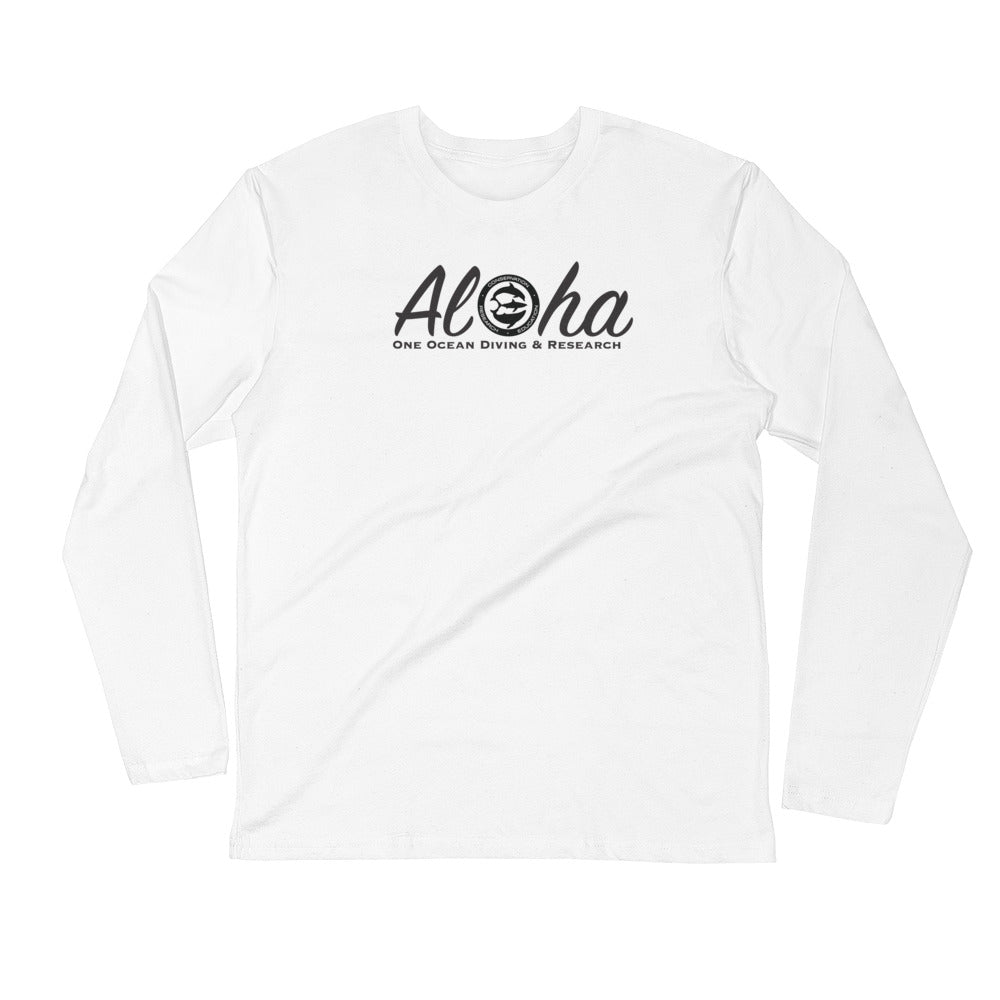 Captain Shiloh's Aloha & Respect the locals Tiger Shark Long Sleeve Fitted Crew