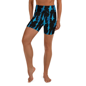 Lady Shark All Over Shorts Yoga Shorts (Check out our other lady Shark Short design for smaller shark print)