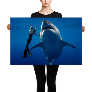 Save Sharks Deep Blue Great White Hawaii Ocean Ramsey Canvas