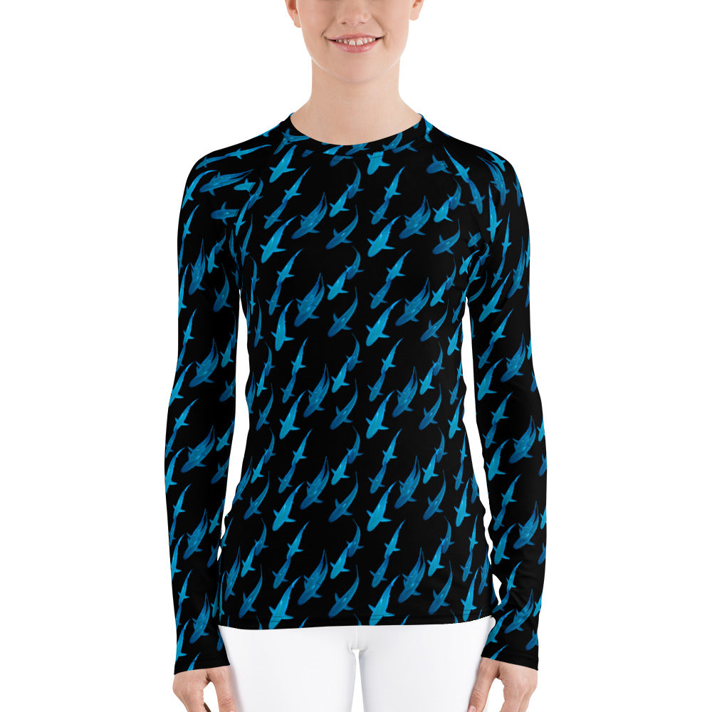One Ocean Logo Research Blue Lady Shark Women's Rash Guard