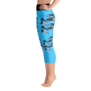 Dolphin Party Turquoise Yoga Capri Leggings