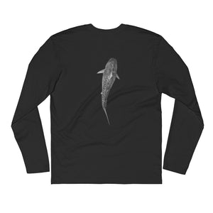 Great White Font Tiger Shark Back Apex Shark JuanSharks Signature Long Sleeve Fitted Crew