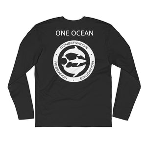 JUANSHARKS Signature One Ocean Logo Bold Next Level 3601 Premium Fitted Long Sleeve Crew