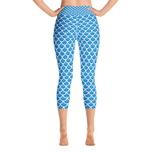 """The Mermaid Kayleigh"" Capri Mermaid Scale Yoga Leggings"