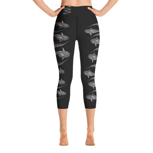 Tiger Shark Stripe Yoga Capri Leggings