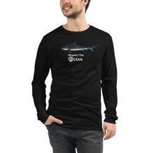 "Respect the OCEAN Unisex Long Sleeve Tee.  Featuring ""Pirate"" The Maldivian Tiger Shark for the Nature friends of Maldives benefit."