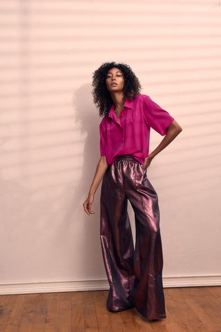 PINK SHIRT METALLIC PLUM PANTS