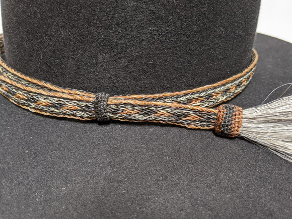 XL Horsehair Hatband for Helmets, Single Tassel Side Pull #5 Helmet Hatband - DBarJHats