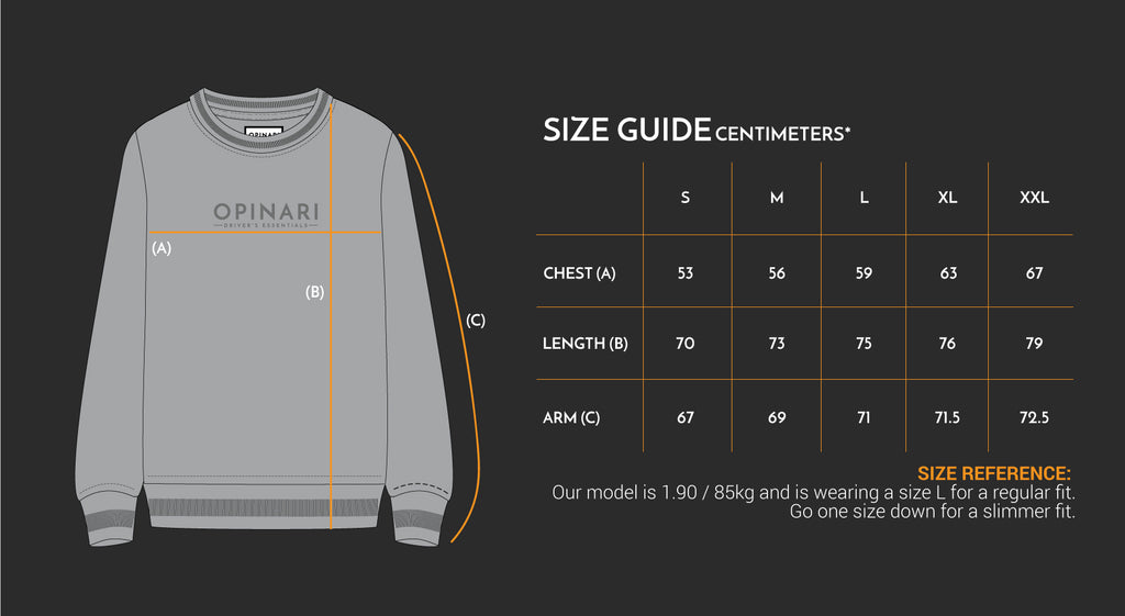 Sweater size guide OPINARI