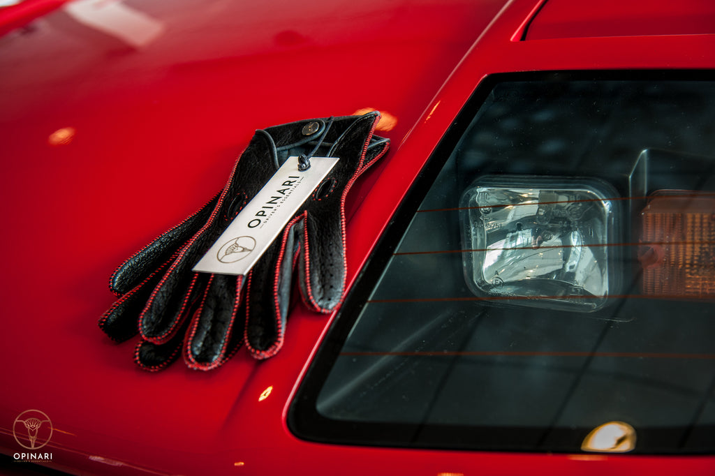 Red driving gloves Ferrari