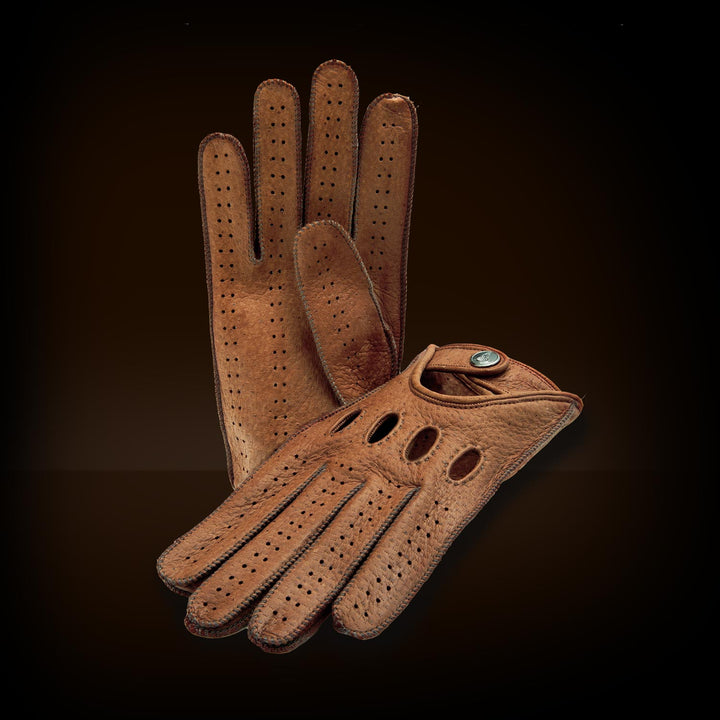 Brown men's driving gloves