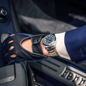 Blue leather driving gloves Ferrari
