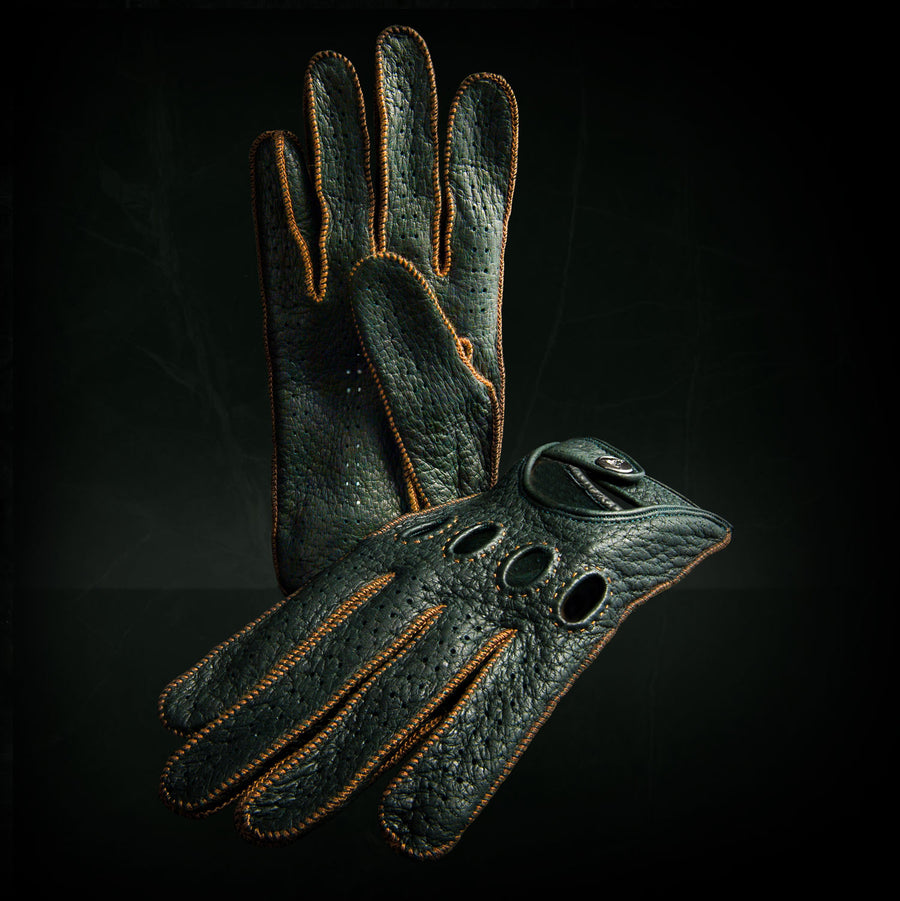 Green driving gloves