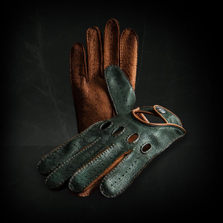 British racing green leather driving gloves