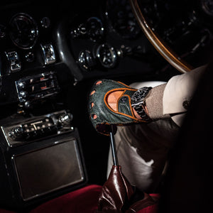 British racing green leather driving gloves Aston Martin