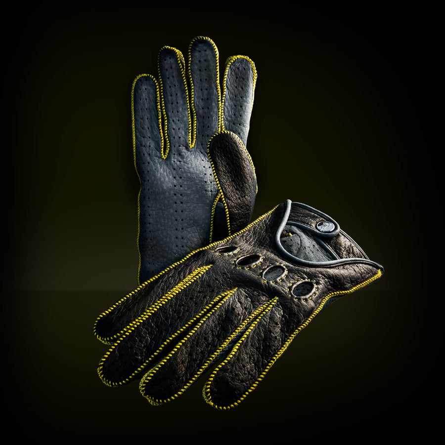 Yellow leather driving gloves
