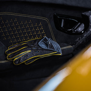 Yellow leather driving gloves Lamborghini
