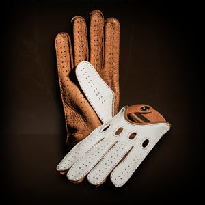 white brown driving gloves