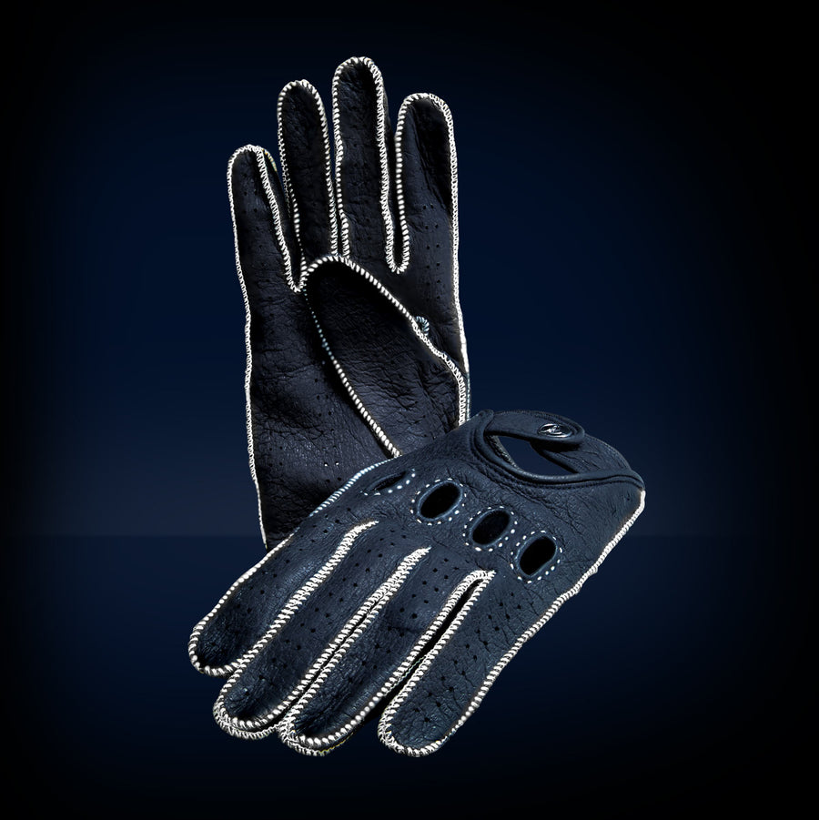 Blue white leather driving gloves