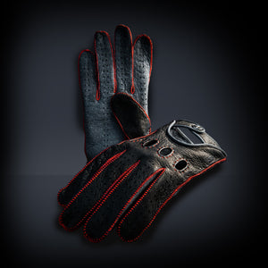 Red leather driving gloves
