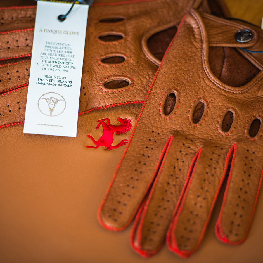 Brown Ferrari driving gloves