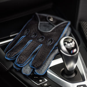 Blue leather driving gloves BMW