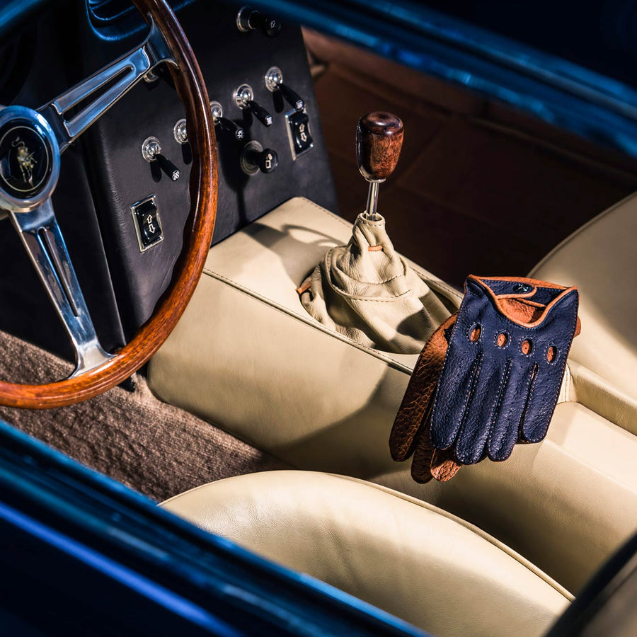 Blue leather driving gloves Lamborghini
