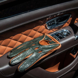 British racing green leather driving gloves Bentley
