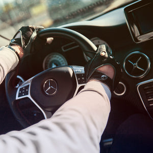 Black leather driving gloves AMG