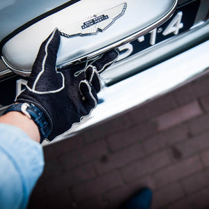 Blue white leather driving gloves Aston Martin DB5