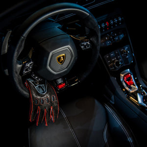Red leather driving gloves Lamborghini