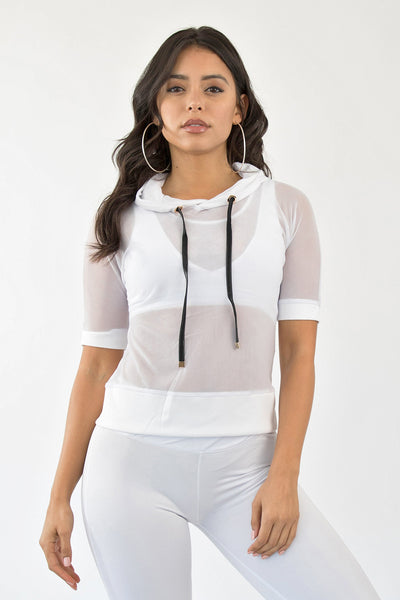 MESH WITH ME ACTIVE HOODIE - WHITE