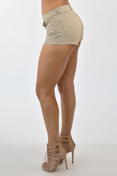 CUFF ME UP SHORTS - KHAKI