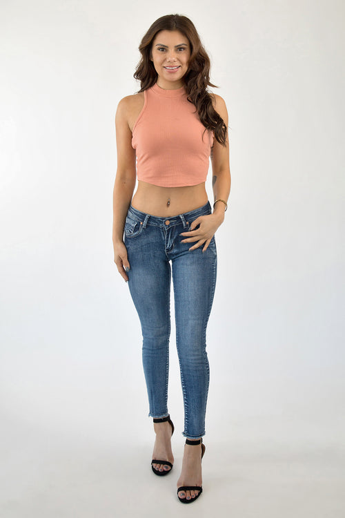 ALL UP IN YOUR FUNNEL CROP TOP - CORAL