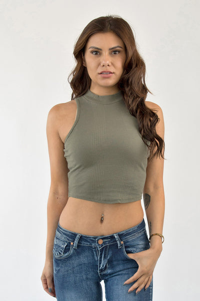 ALL UP IN YOUR FUNNEL CROP TOP - OLIVE