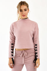 GIGI LACE SLEEVE SWEATER - MAUVE