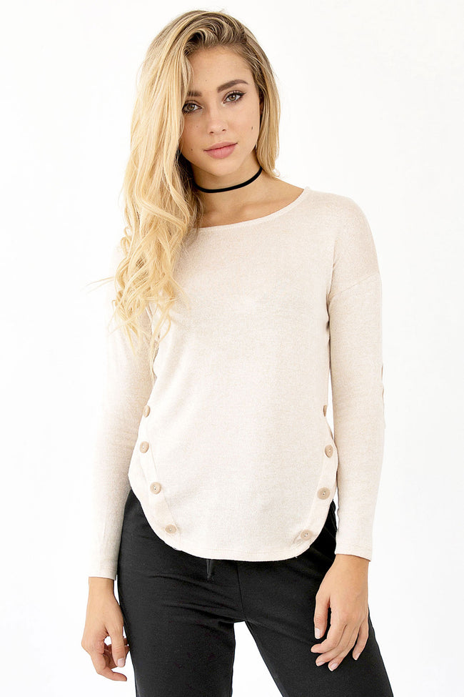 CUTE AS A BUTTON SWEATER - OATMEAL